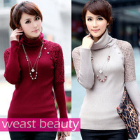 hot selling 6 colors Winter Autumn sweater lace crotch all-match long-sleeve turtleneck basic sweater