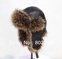 High-quality 100% genuine wool leather,Lots of high-quality artificial fur russian hat warm men/women hat with free shipping