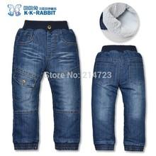 De alta calidad KK -conejo gruesa de invierno de los niños de cachemir cálido pantalones de los muchachos de los bebés de los pantalones vaqueros pantalones vaqueros de los niños(China (Mainland))