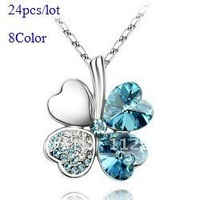 Wholesale Retro Fashion costume Jewelry Four Leaves color crystal Clover Necklace (8 color option) Free shipping