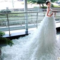 Luxury Bohemian Style Tube Top Backless Princess Wedding Dresses Fantastic Super-long Train White Wedding Dress KC1398