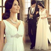 Luxury Sexy Deep V-neck Diamond Wedding Dress With Train 2014 Fashion Mermaid Wedding Dresses KC096