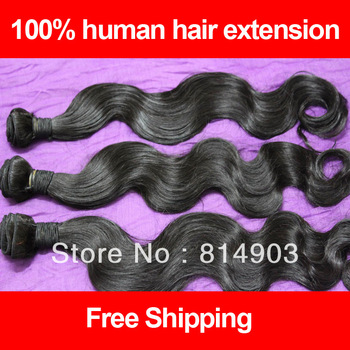 "Mixed Lengths 12""-28"" 3/4pcs Lot Brazilian Virgin Hair Body Wave 100% Unprocessed Human Hair Extension Natural 1B Free Shipping"