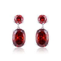 A88148 Fashiongarnet red/purple zircon 18kt white gold filled earrings free gift Zircon earrings
