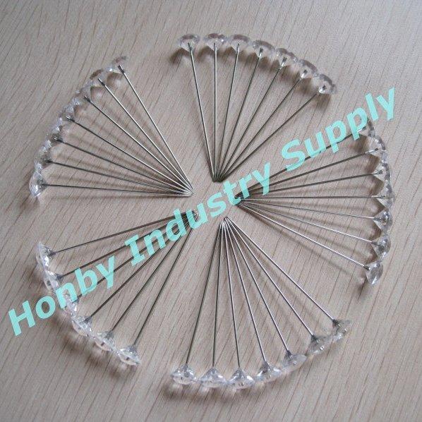 DHL/TNT free shipping, wholesale 1000 pcs/lot 65mm clear wedding diamond head pin(China (Mainland))