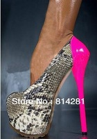 2013 fashion snakeskin leather 16cm heels ladies dress shoes