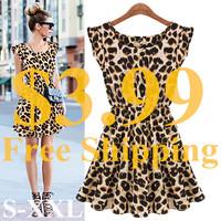 Free Shipping New Hot Sale Sexy Casual Women Dress Leopard Print Sleeveless Ruffles Dresses Girl Sundress #6042