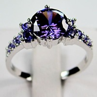 Bland New amethyst 14KT white Gold plated Ring sz7/8/9 Zircon ring for women crystal ring