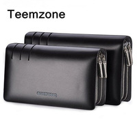 Teemzone HOT 3308/3309 High Quality Double zipper men handbag cowhide genuine leather Business man day clutch bag