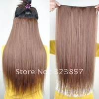Free Shipping 24 inch 7 Colors U-pick Long Straight Clip In Hair Extension Synthetic Women Onepiece Clip in Hair 105g/pack