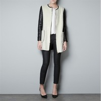 New 2014 Winter Fashion Women PU Leather Sleeve O-Neck Collar Wool Blends Zipper Trench Coat