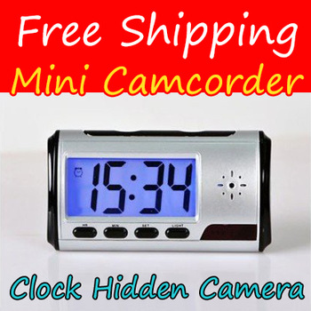 Free Shipping Security Camera Motion Detection Alarm Clock Camera Remote Control Mini DV DVR Camcorder With USB Cable