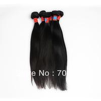 Top quality 3 bundles/lot unprocessed virgin peruvian hair aaaa grade natrual color straight extensions mix 16 18 20 22 24 26 28