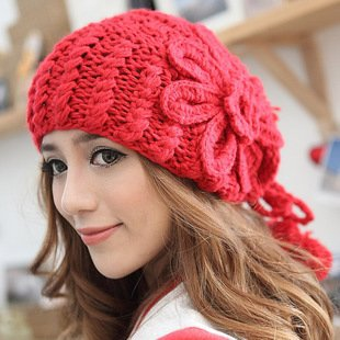 hot christmas gift for woman Autumn and winter warm hat coarse knitted hat plush ball cap women's knitting wool hatDM12001A(China (Mainland))