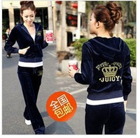 2012 autumn Korean version of velour track suit female leisure sports suit