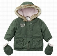 Wholesale 5 pcs autumn winter green children baby boys girl liner with gloves cute jacket coat outwear top age for 3-23M  WM0785