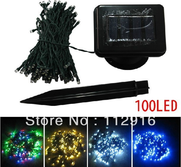 120cm 100led outdoor lighting LED sensor string lights decoration wedding garden decoration green blue white yellow(China (Mainland))