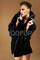2013 Winter Woman Warm Luxurious Genuine Mink Fur Coat With Hooded Collar Black Color New Style Wholesale Retail OEM QD22249