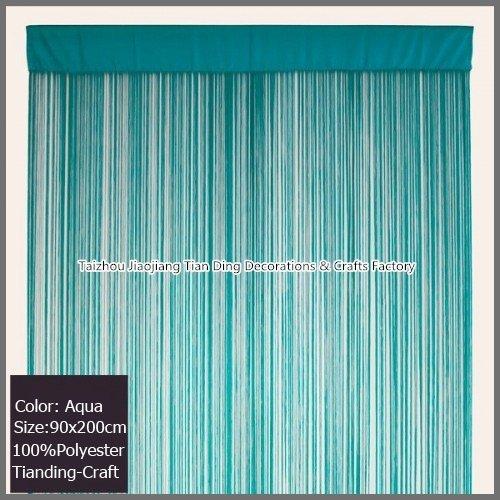 "Aqua String Curtain Panel Waterfall Backdrops Fringe Door Curtain Partition Room Divider 36""x78"" (90x200cm)(China (Mainland))"