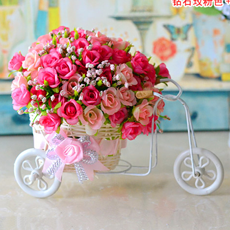 plastic rattan wicker trycycle vase include flowers wedding home decoration bandwagon artificial rose flower set(China (Mainland))