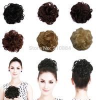 Free Shipping 1Pc Synthetic Hair Chignon Hair Bun Chignon Heat Resistant Multicolor Curl Wave Clip In Synthetic Chignons