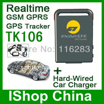 Spy equipment GSM/GPRS Tracker Device TK106 +12V hard wired car charger + sos button+ shake alarm for car/motorcycle