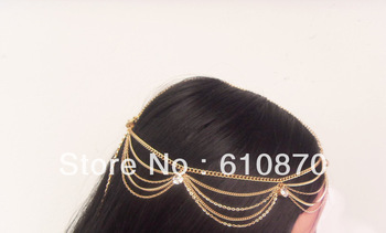 2013 Hot Grecian Fashion Style Women Gold Metal Rhinestone Head Piece Chain Jewelry Hair accessories Wedding