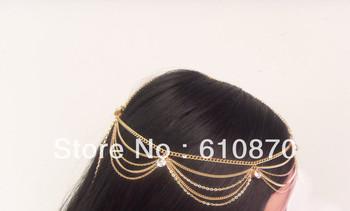 2013 Hot Grecian Fashion Style Women Gold Metal Rhinestone Head Piece Chain Jewelry Hair accessories Wedding