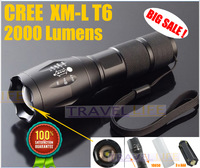 Promotions Ultrafire E17 2000 Lumens 5-Mode CREE XM-L T6 LED Flashlight Zoomable Focus Torch by 1*18650 or 3*AAA Free shipping