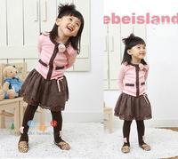 New Fashion baby girl long sleeve t-shirt + Short-skirt Set  Children's Skirt, Pink TuTu dress Size100-140