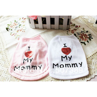 Dog Pet Puppy Vest Love Heart Printing Costume Clothes Poodle Summer T-shirt