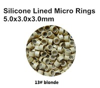 1000pcs 5mm Feather stick  or I tip human hair extension silicon lined micro ring beads links tool  13# blonde