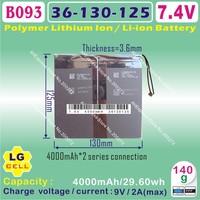 [B093] 7.4V,4000mAH,[36125130]  PLIB (polymer lithium ion battery / LG cell) Li-ion battery  for tablet pc,e-book,gps