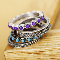 R058 vintage  purple gorgeous luxury vintage ring set of ring wholesale charms