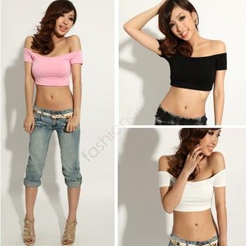 New Fashion Women's Shirt Sexy Hip-hop Off Shoulder Midriff-Baring Club Party short T-Shirt Top Free shipping 12