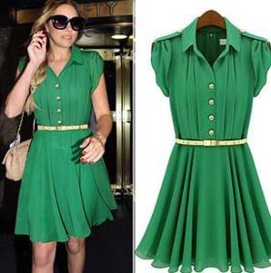 New Designer Brand Office Dresses Green Pleat Chiffon High Street Knee-Length Dress With Belt Summer Dresses For Women 2014