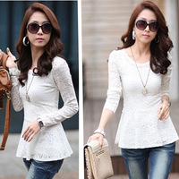 free shipping whole  sales ladies long sleeve lace blouse tops women blouse shirt blouse