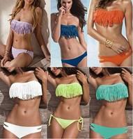 Wholesale! 2013 Hot Sexy Girl Lady Padded Boho Fringe Bikinis Strapless Dolly Tassel Bikini Swimwear Women's Swimsuit Beach Wear
