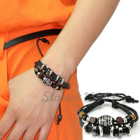 2014 New Arrival Vintage Charm Bracelet made of Genuine Leather Bracelets for Men