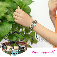 2014 2 Layers Vintage Bracelet with Leaf&Anchor Charm Genuine Leather bracelets Jewelry for Men&Women