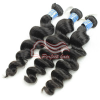"6A Grade  perfect loose wave hair extension unprocessed virgin peruvian hair loose wave color 1b# 12-32"" available"