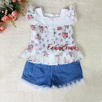 New Summer Kids Clothing Set Lace Children Girl Clothes Set 2PCS T Shirt And Pants 4 Colors Infant Garment CS30110-04^^FT