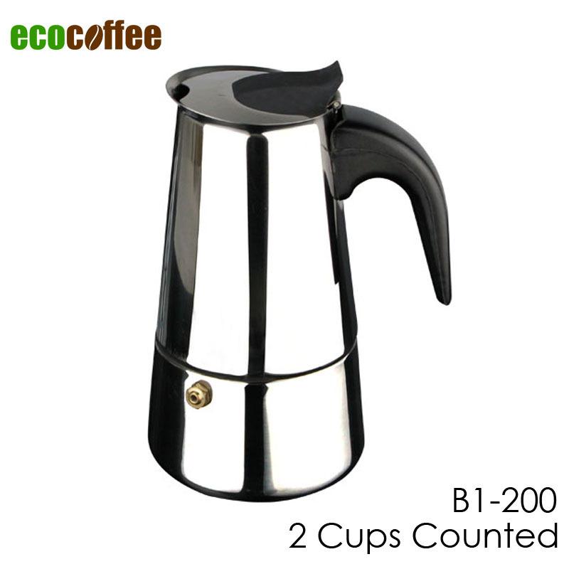 Moka Pot Crema New Arrival Free Shipping Espresso Coffee Pots 2 Cups Stainless Steel Moka