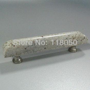 Unique French Furniture Hardware,96mm Kitchen Cabinet Handles Dresser Drawer Pulls,India Kashmir White Granite with Brass Base