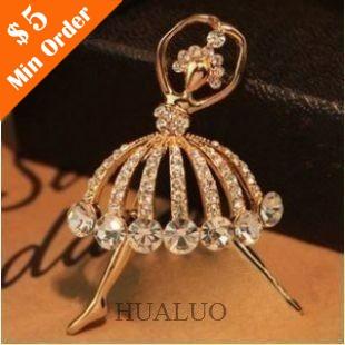 Pretty Pave Imitation Diamond Ballet Dancer Corsage Brooch Wholesale Brooch(Gold) X25(China (Mainland))