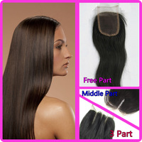 "Middle Part Straight  Hair  Brazilian Virgin Hair Lace Top Closure 3.5""x4"" Hair Lace Closure Virgin Hair Queen Virgin Hair"