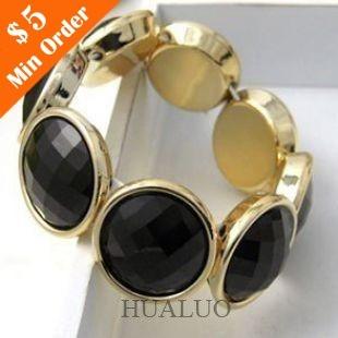 Hot Korea Fashion Jewelry Temperament Phnom Black Round Acrylic Bead Bracelet B148