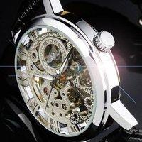 WIN016-1 Free Shipping!!! Winner brand Mens Black Skeleton Hand Wind Mechanical Watch Wrist Watch Black Leather Strap Drop Ship