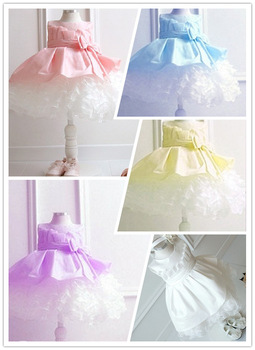 Special offer,NEW,2014 children dress 1pcs/lot girls High-grade Princess dresses Big bowknot dresse for summer red pink