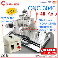Z axis 100mm 4th axis CNC 3040 CNC Router  water-cooled,  cnc engraving machine, high quality!